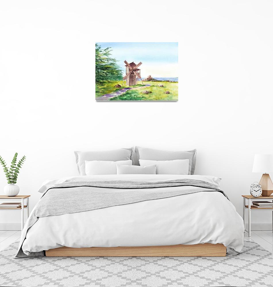 """Fort Ross Windmill""  (2015) by IrinaSztukowski"