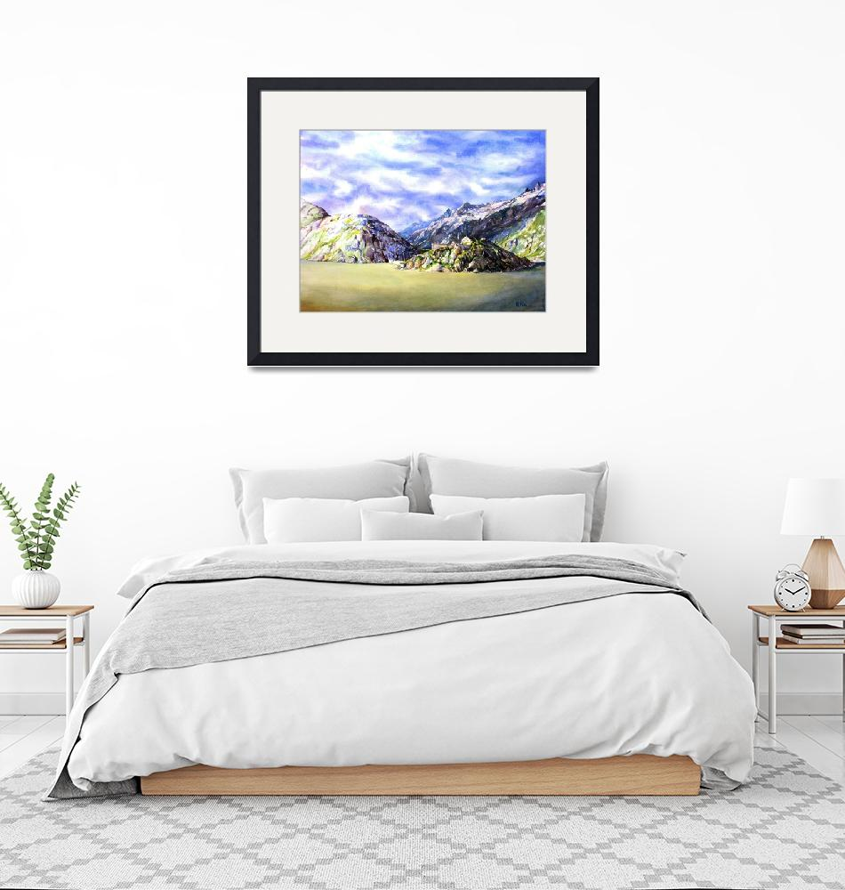 """""""Watercolor painting of lake and Swiss Alps""""  (2014) by RFoxWatercolors"""