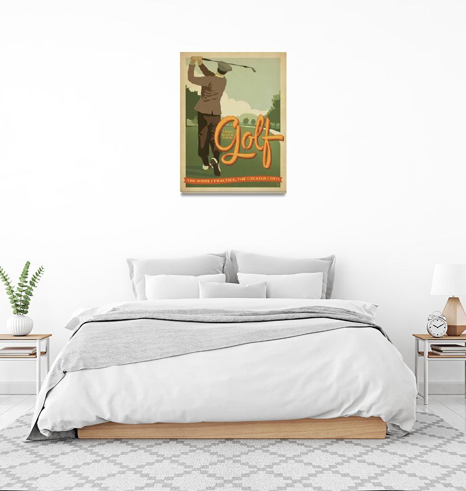 """Golf Practice Retro Poster""  by artlicensing"