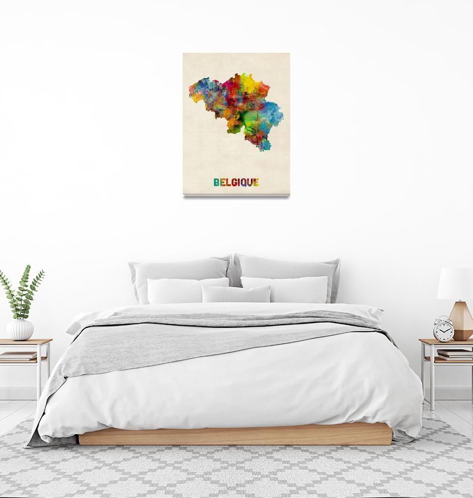 """Belgium Watercolor Map""  (2015) by ModernArtPrints"