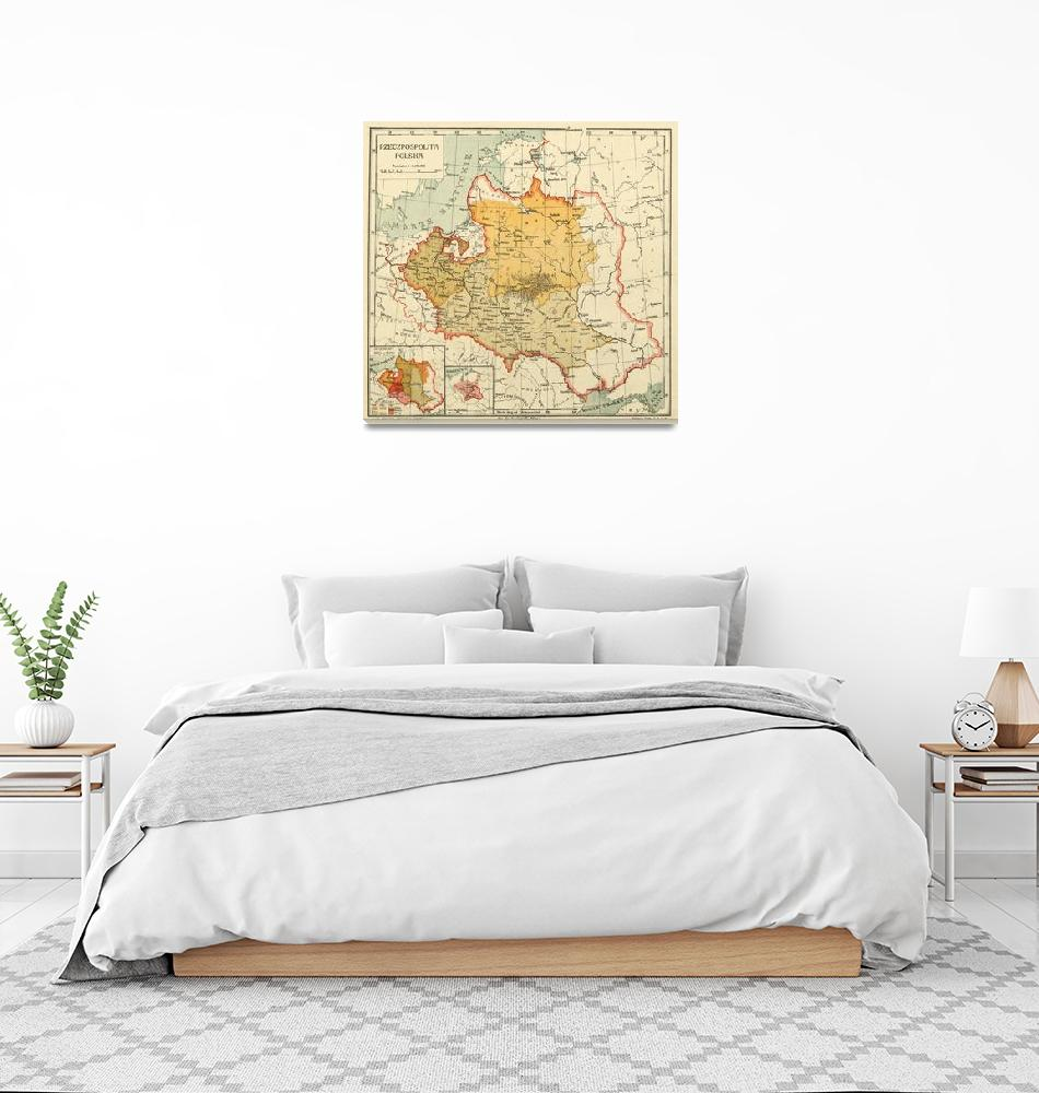 """""""Vintage Map of Poland (1921)""""  by Alleycatshirts"""