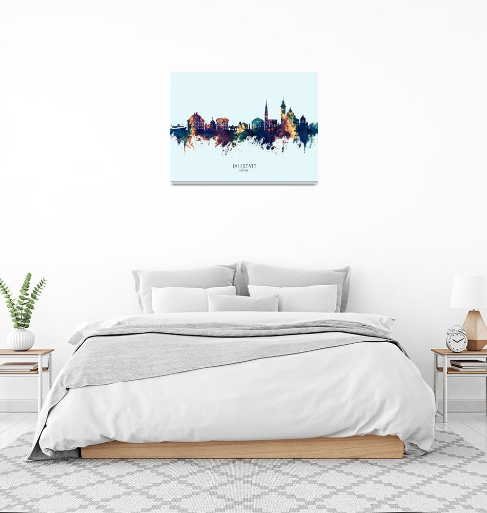 """Hallstatt Austria Skyline""  (2019) by ModernArtPrints"