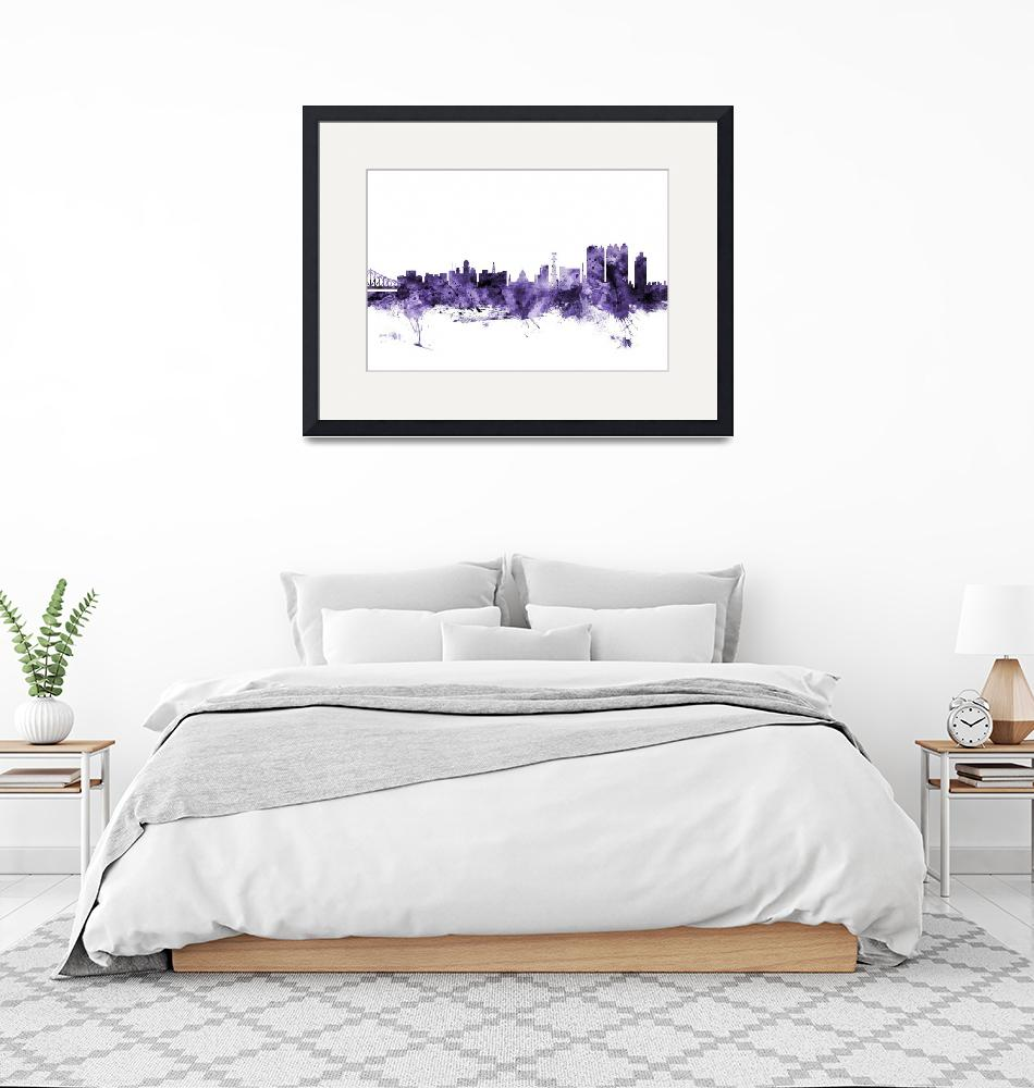"""Calcutta (Kolkata) India Skyline""  (2018) by ModernArtPrints"