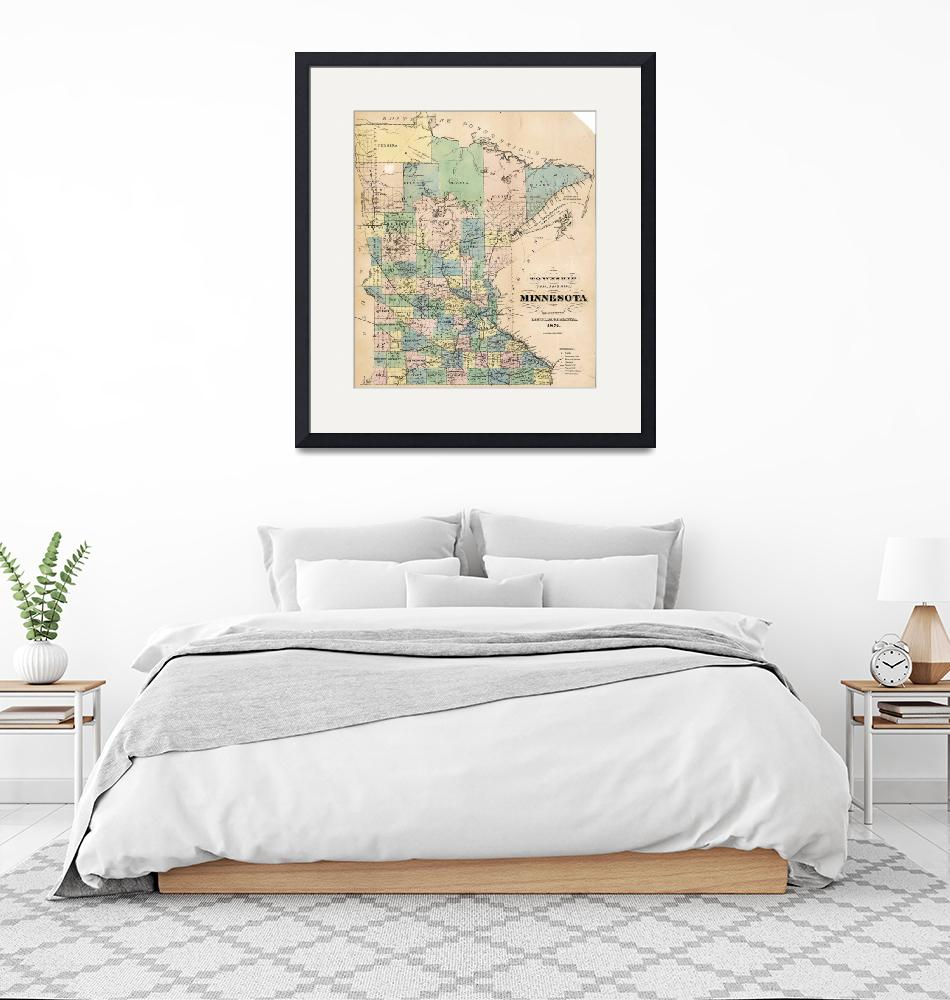 """""""A  J  Reed~Township and railroad map of Minnesota""""  by Old_master"""