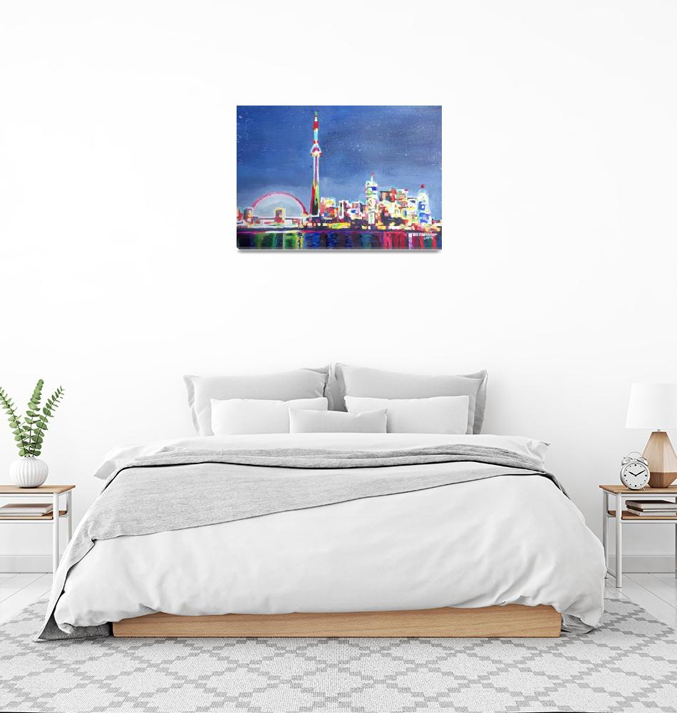 """Toronto Neon Shimmering Skyline with CN Tower""  (2014) by arthop77"