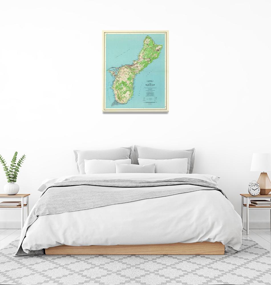 """Vintage Guam Map (1965)""  by Alleycatshirts"