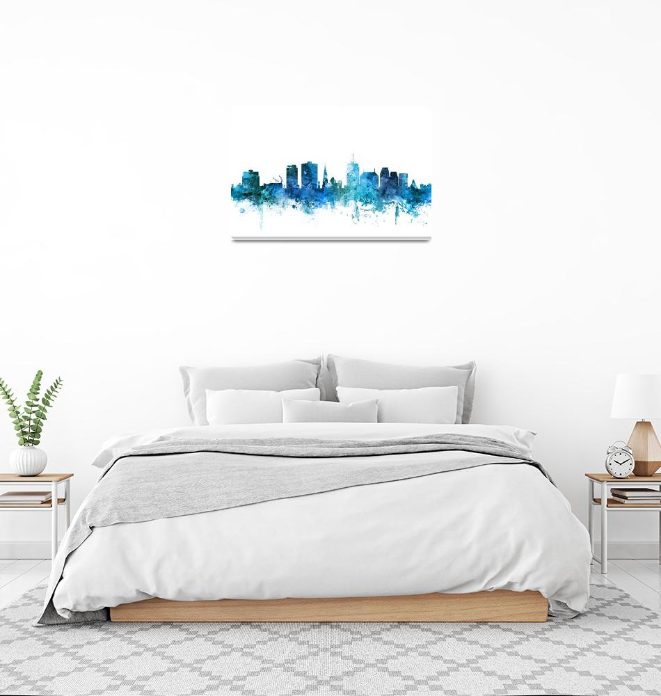 """Christchurch New Zealand Skyline""  (2018) by ModernArtPrints"
