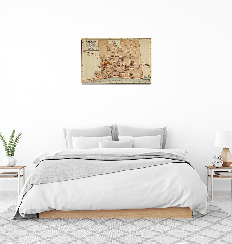 """""""Vintage Map of Hamilton Bermuda (1922)""""  by Alleycatshirts"""