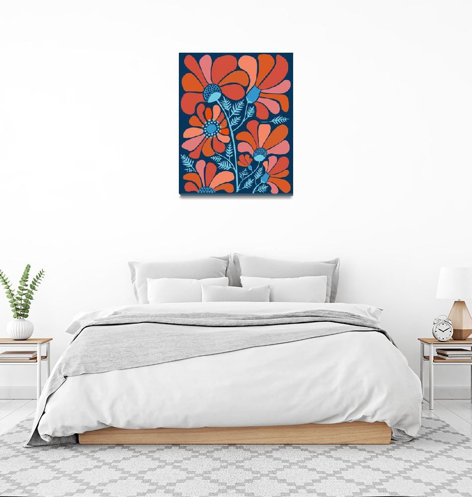 """""""Red Blue Flowers"""" (2018) by moderntropical"""