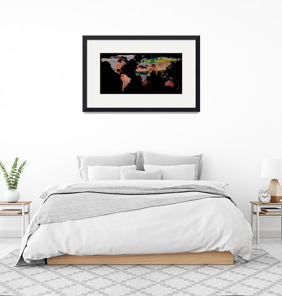 """""""World Map Silhouette - Undressing at The Beach""""  by Alleycatshirts"""