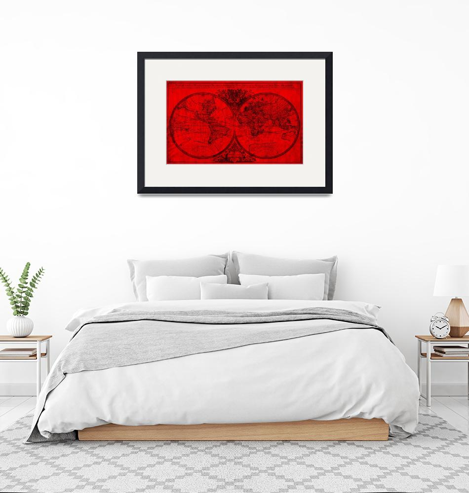 """""""World Map (1691) Red & Black"""" by Alleycatshirts"""