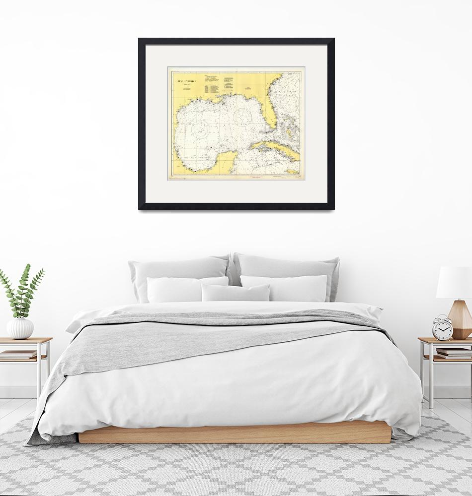 """Vintage Map of The Gulf of Mexico (1942)""  by Alleycatshirts"