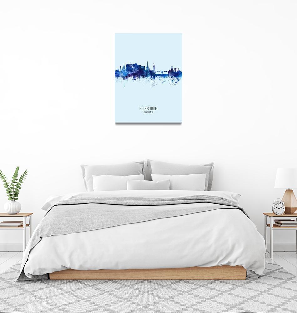 """Edinburgh Scotland Skyline""  (2019) by ModernArtPrints"