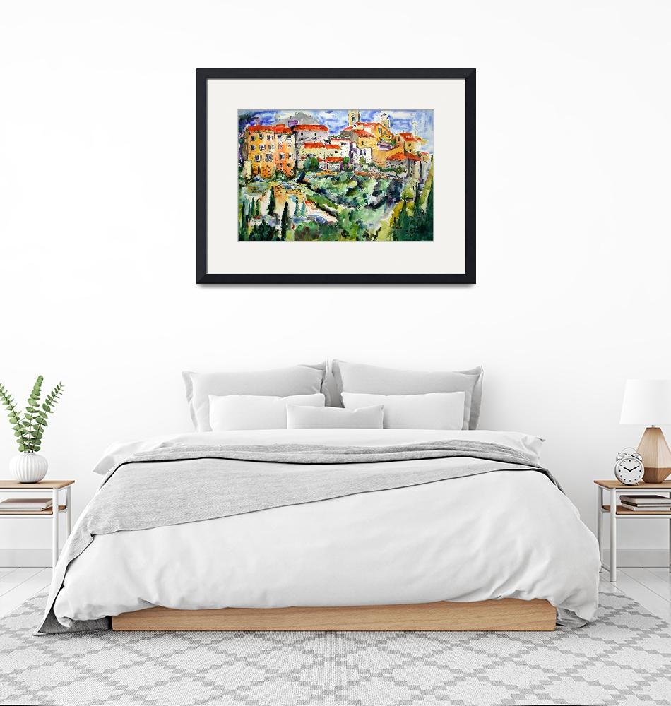 """""""French Hillside Village Provence Watercolor Ginett""""  (2004) by GinetteCallaway"""