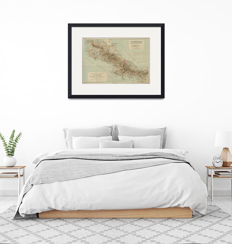 """Vintage Map of Costa Rica (1896)""  by Alleycatshirts"