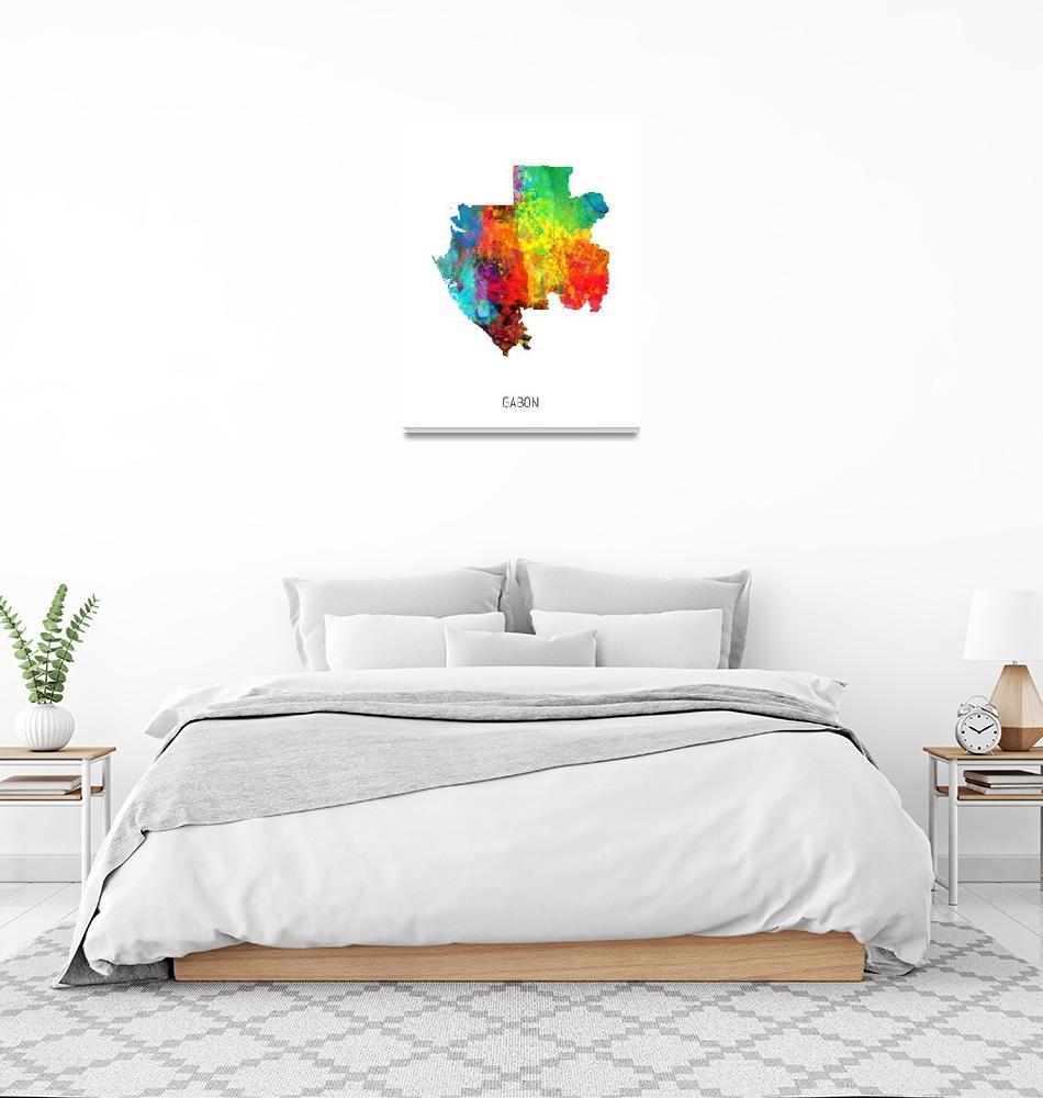 """Gabon Watercolor Map""  (2019) by ModernArtPrints"