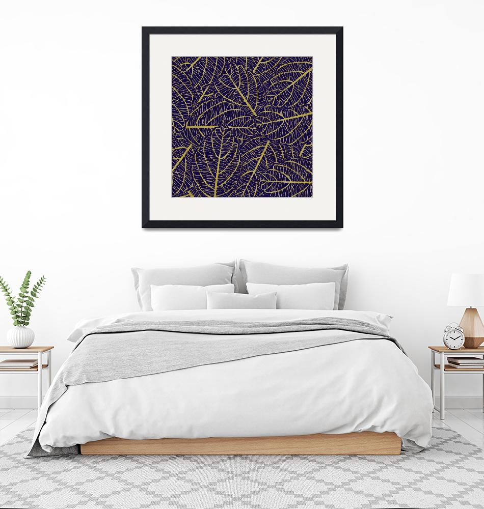 """""""Purple & Gold Leaves Abstract Design""""  (2019) by ImageMonkey"""