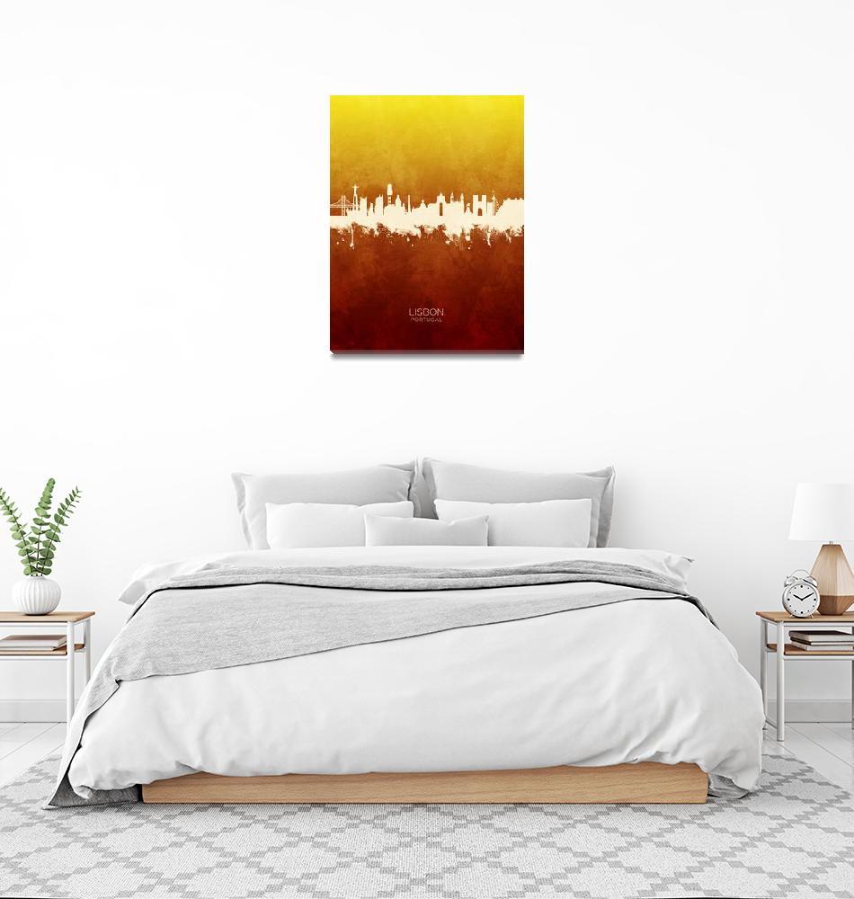 """Lisbon Portugal Skyline""  (2019) by ModernArtPrints"