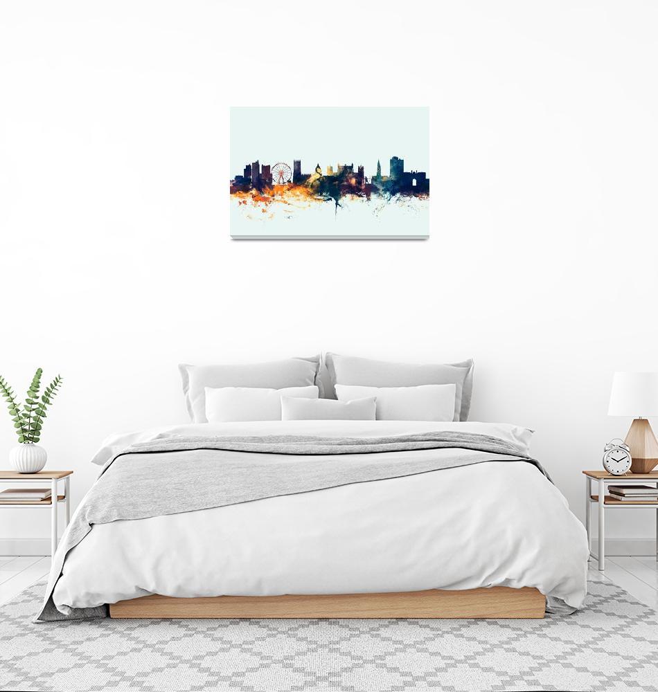 """Nottingham England Skyline""  (2015) by ModernArtPrints"