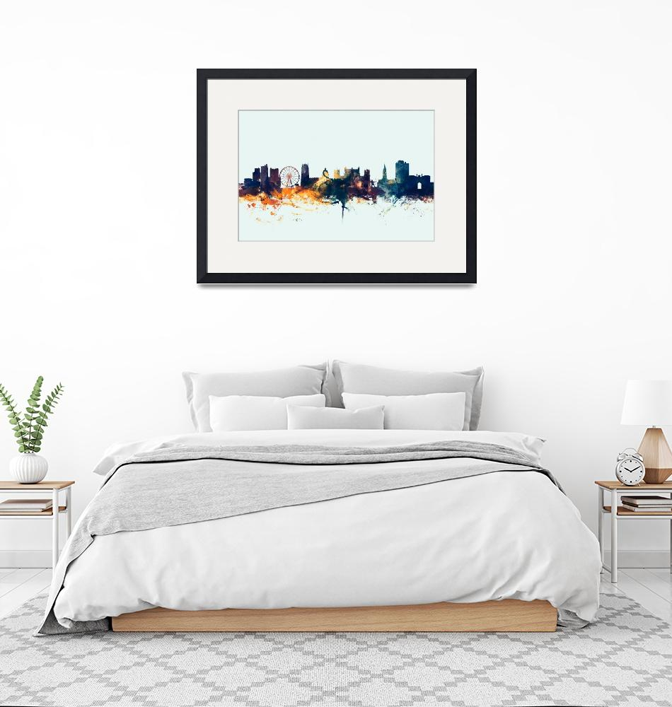 """Nottingham England Skyline""  (2015) by ModernArtPrints"
