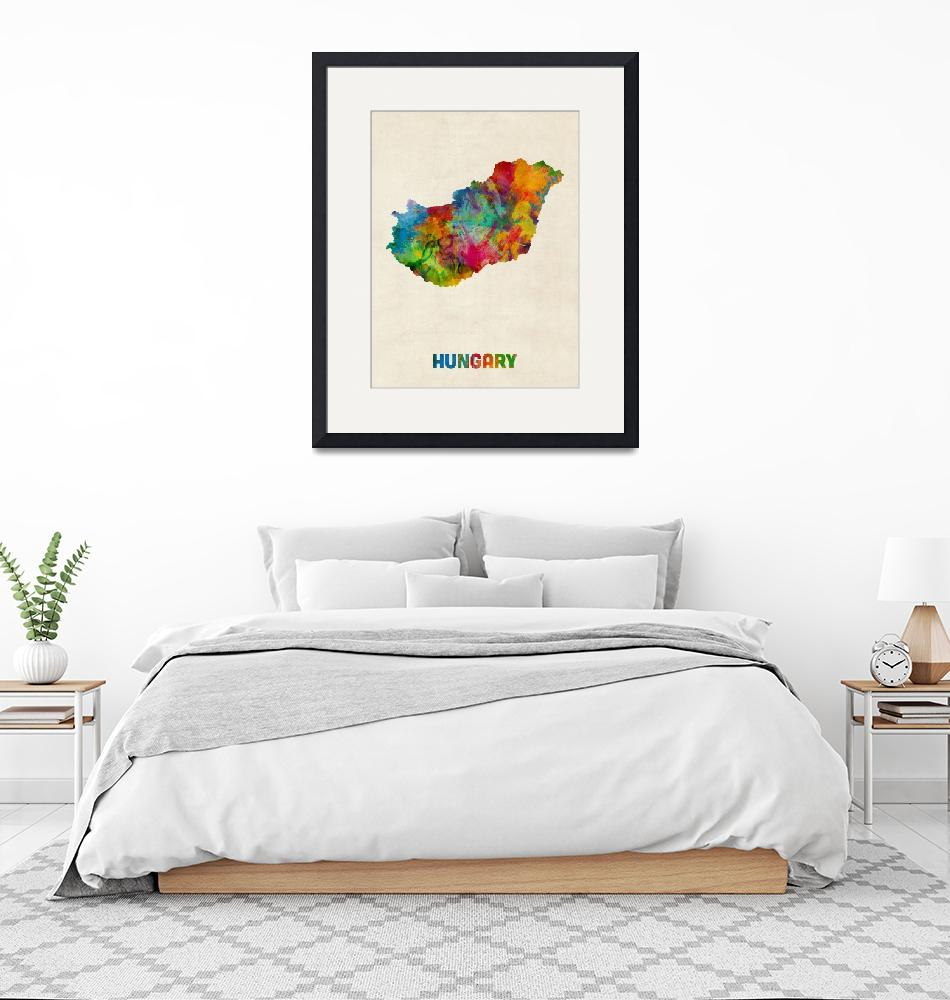 """Hungary Watercolor Map""  (2014) by ModernArtPrints"