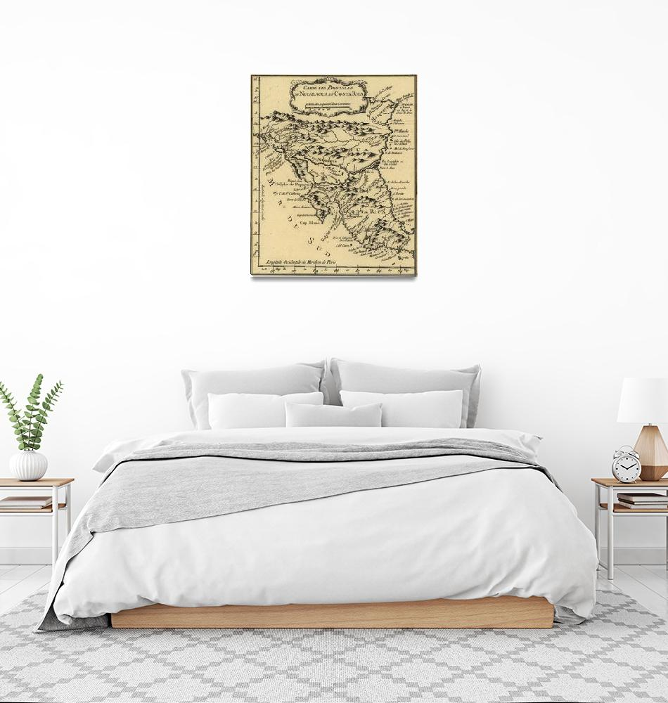 """Vintage Map of Nicaragua and Costa Rica (1764)""  by Alleycatshirts"