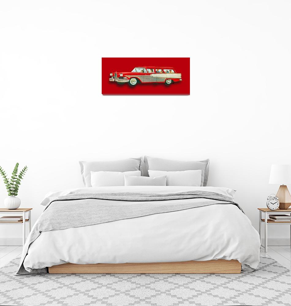 """Edsel Car Advertisement Wagon Red""  (2015) by RubinoFineArt"