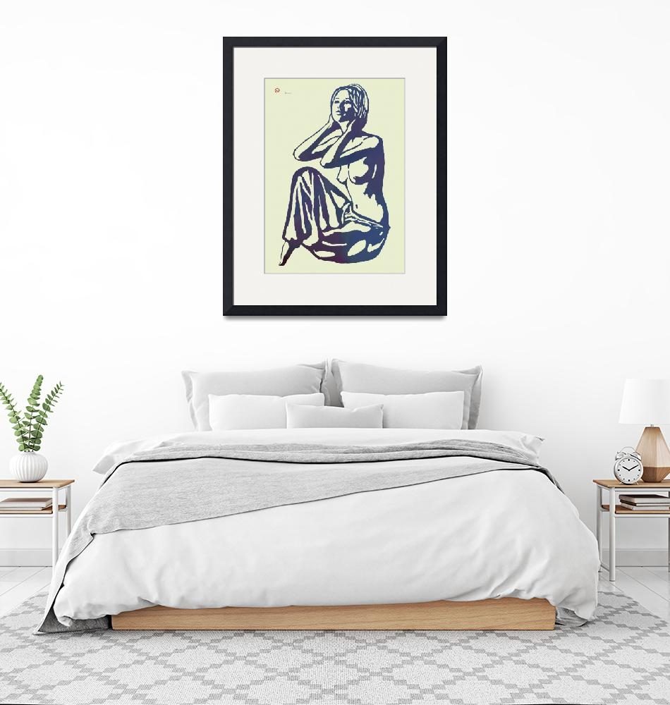 """Nude Pop Stylised Etching Art Poster""  (2014) by visualharbour"