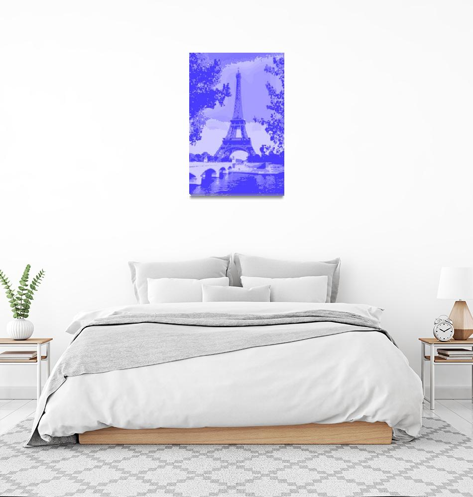 """Eiffel Tower Seine River Enhanced Indigo""  (2013) by TheNorthernTerritory"