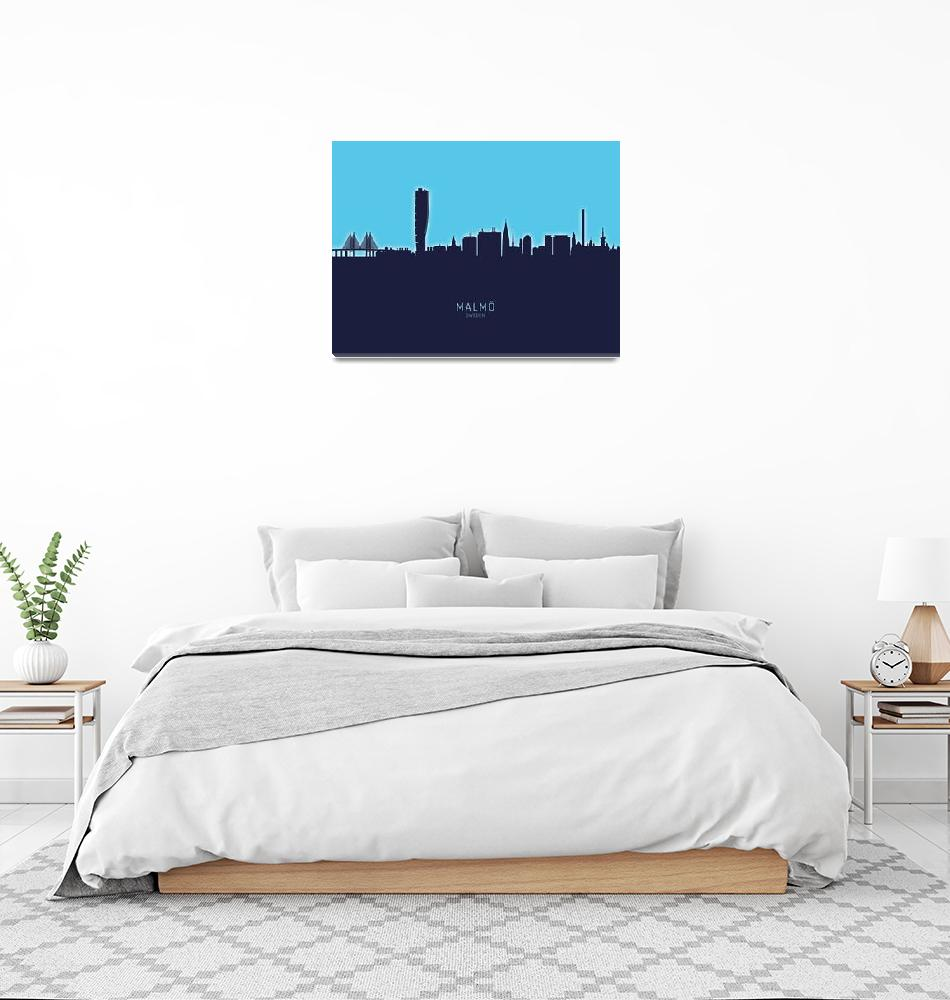 """Malmö Sweden Skyline""  (2020) by ModernArtPrints"