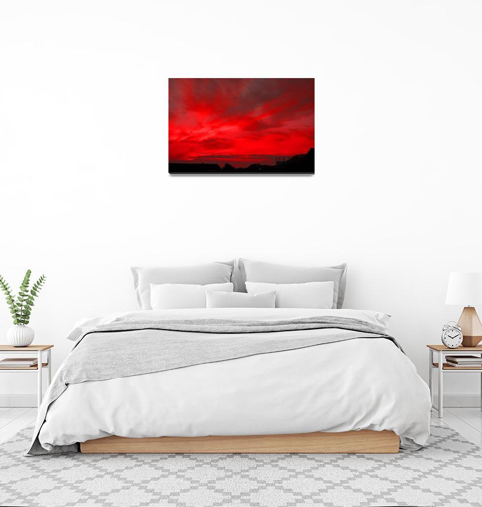 """""""RED FIRE SUNSET, ISLE OF MAN""""  (2008) by babooshka"""