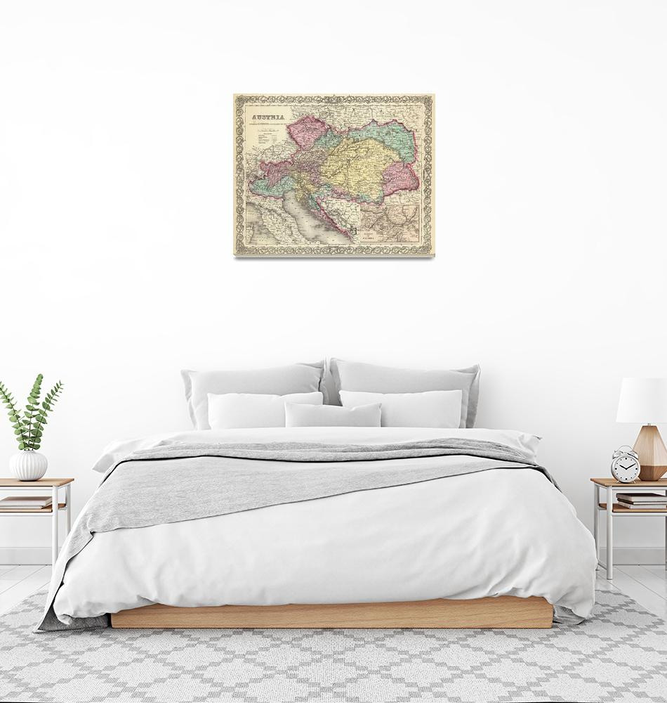 """""""Vintage Map of Austria (1856)""""  by Alleycatshirts"""