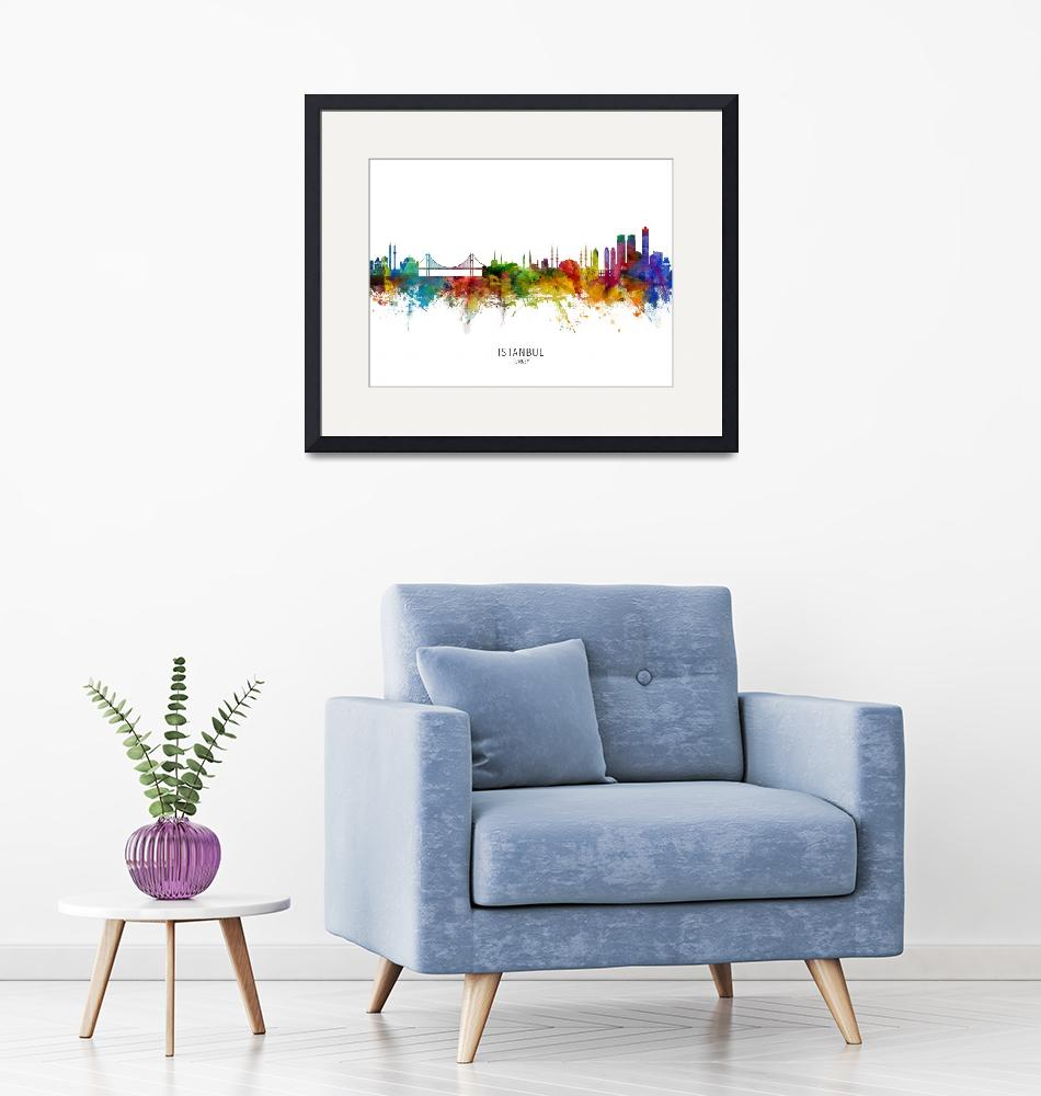 """Istanbul Turkey Skyline""  (2019) by ModernArtPrints"
