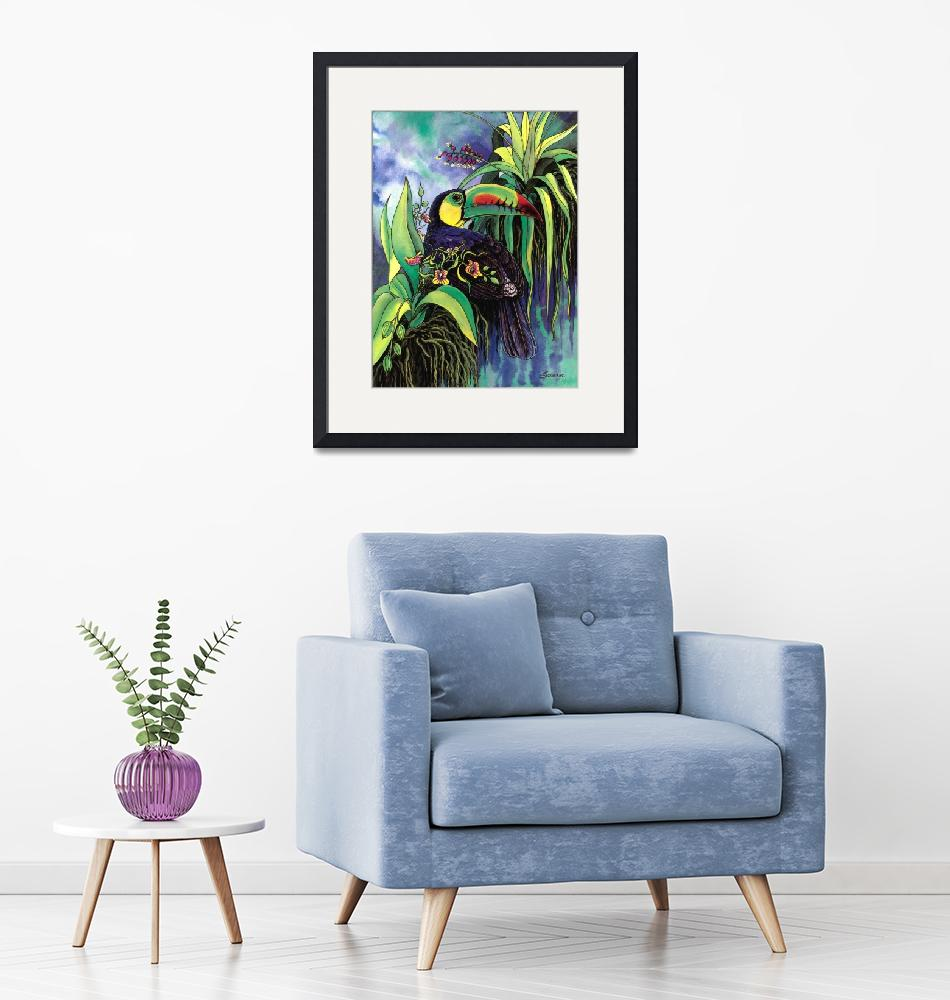 """Keel-billed Toucan and Black Orchid""  by savanna"