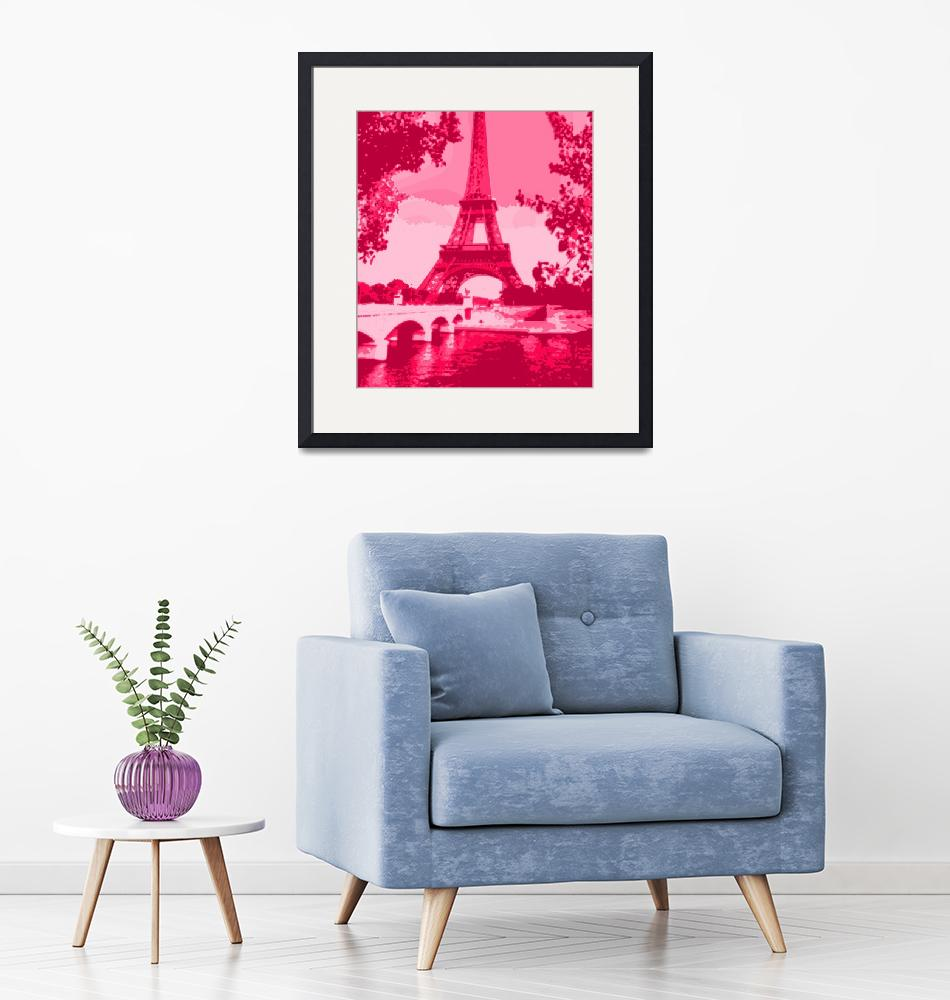"""Eiffel Tower Seine River Enhanced Dark Pink Red cr""  (2013) by TheNorthernTerritory"