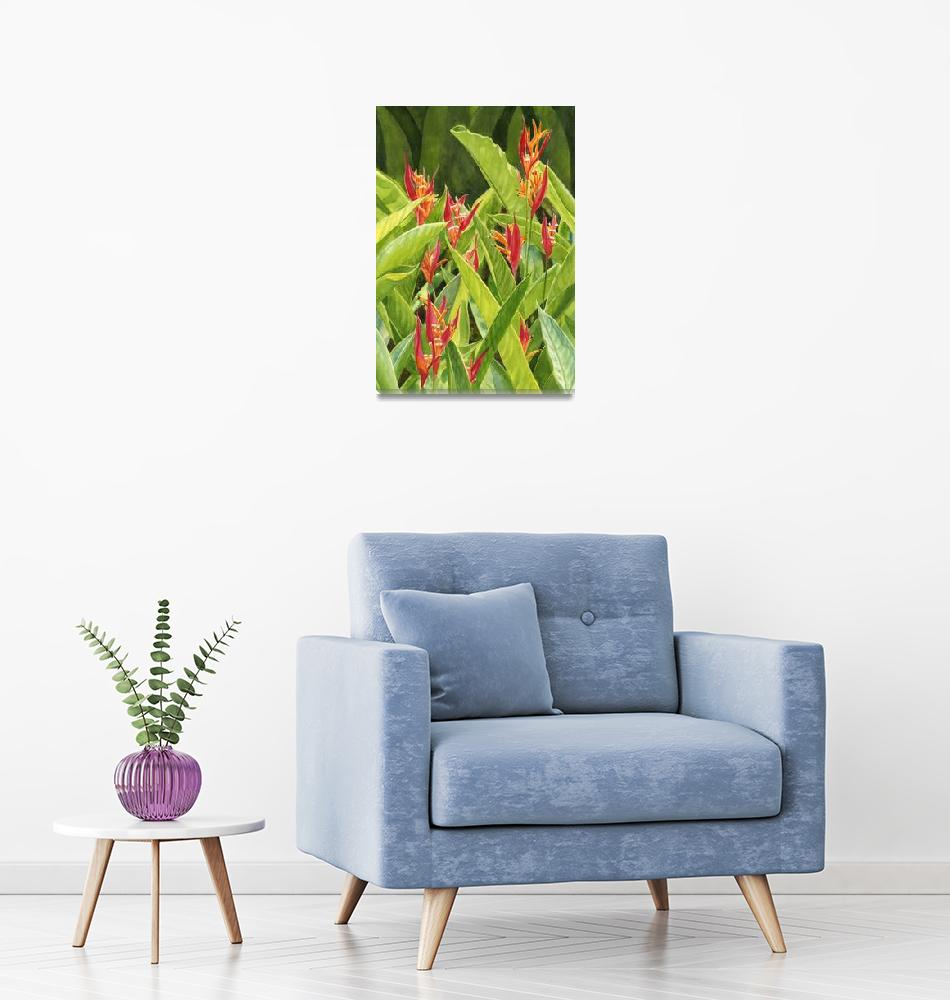 """""""Parrot Flowers with Leafy Background""""  (2014) by Pacific-NW-Watercolors"""