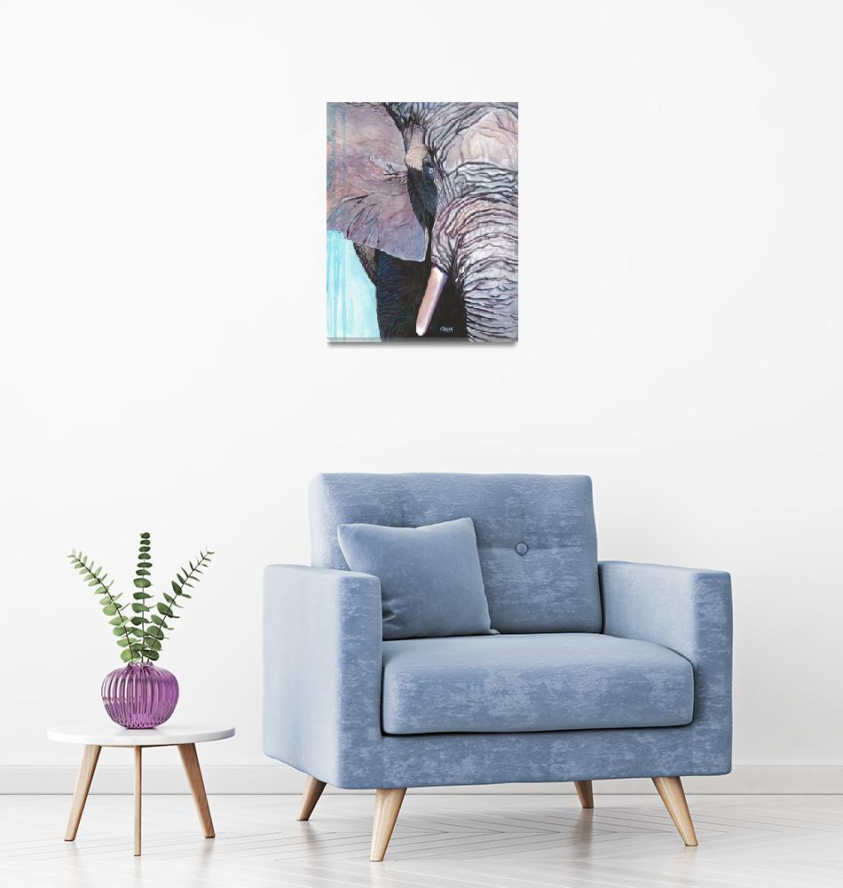 """Original gouache painting elephant""  (2019) by yuezeng"