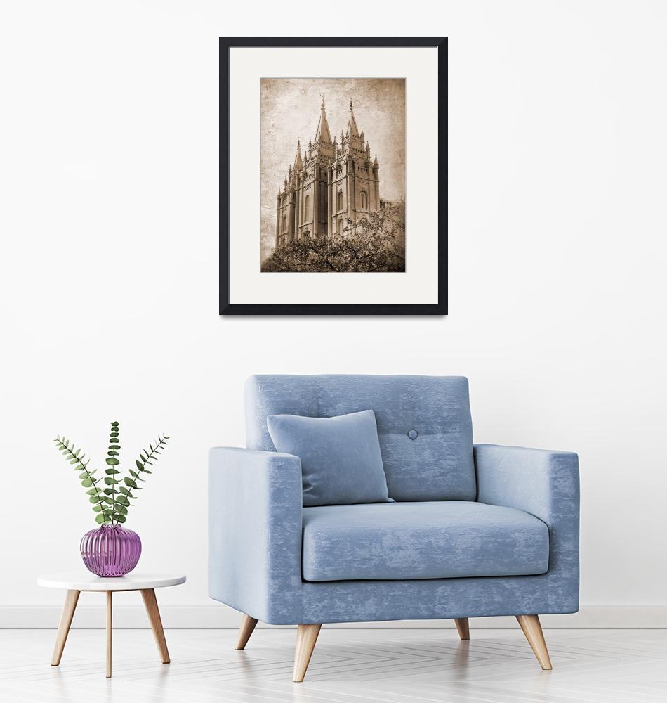 """""""Salt lake temple HDR with texture sepia""""  by houstonryan"""