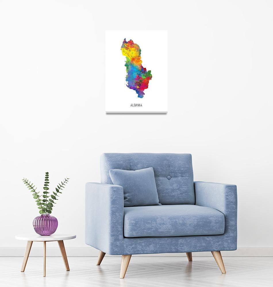 """Albania Watercolor Map""  (2019) by ModernArtPrints"