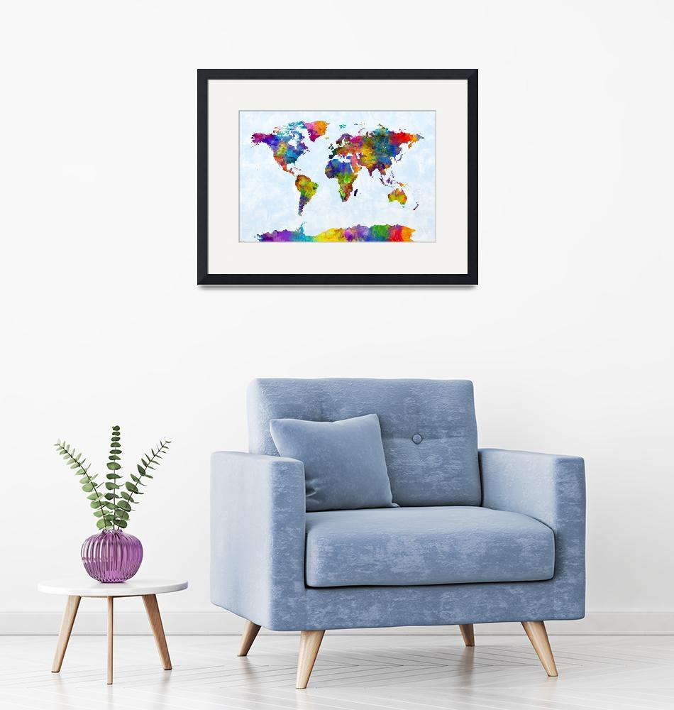 """Watercolor Map of the World Map""  (2015) by ModernArtPrints"
