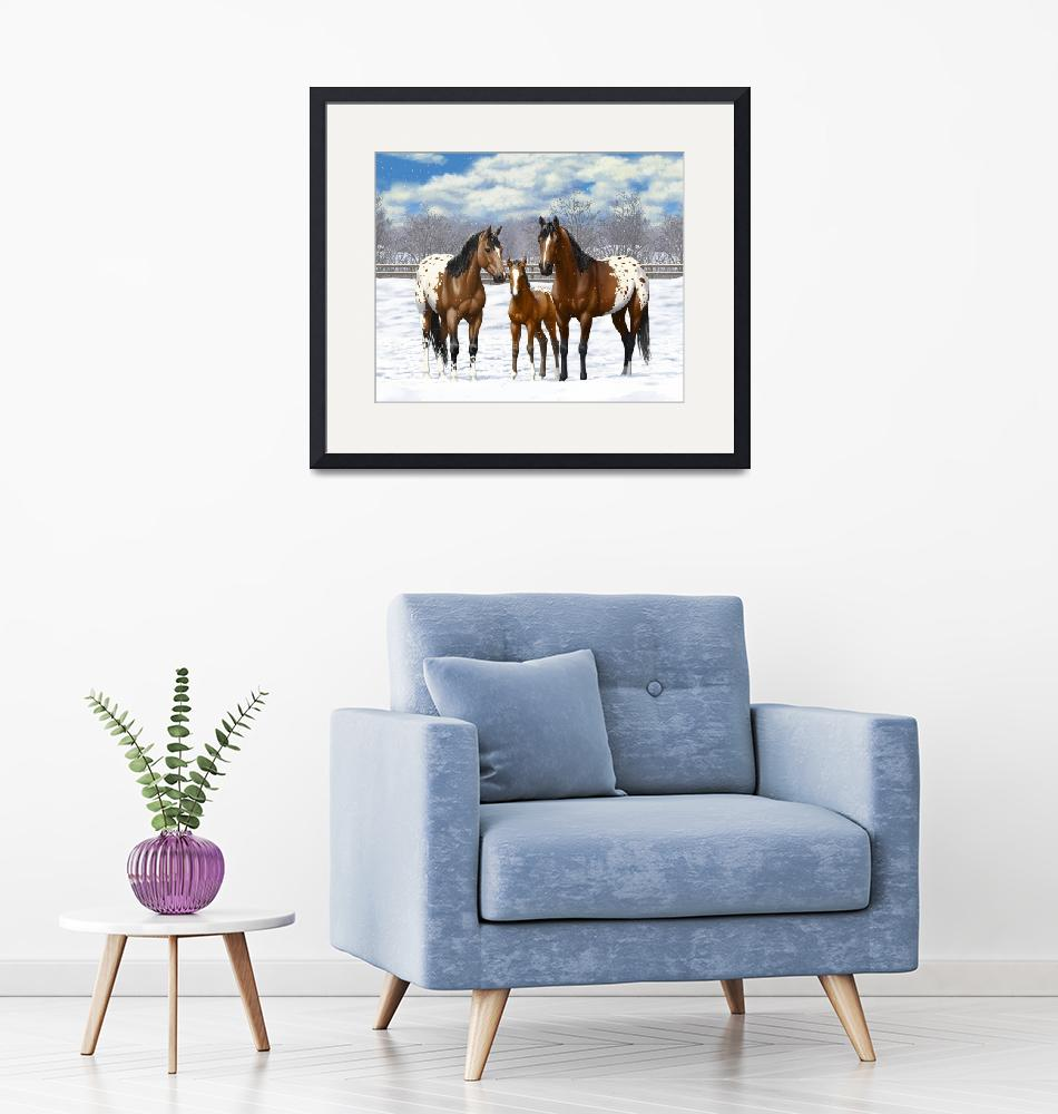 """Bay Appaloosa Horses In Snow""  (2017) by csforest"