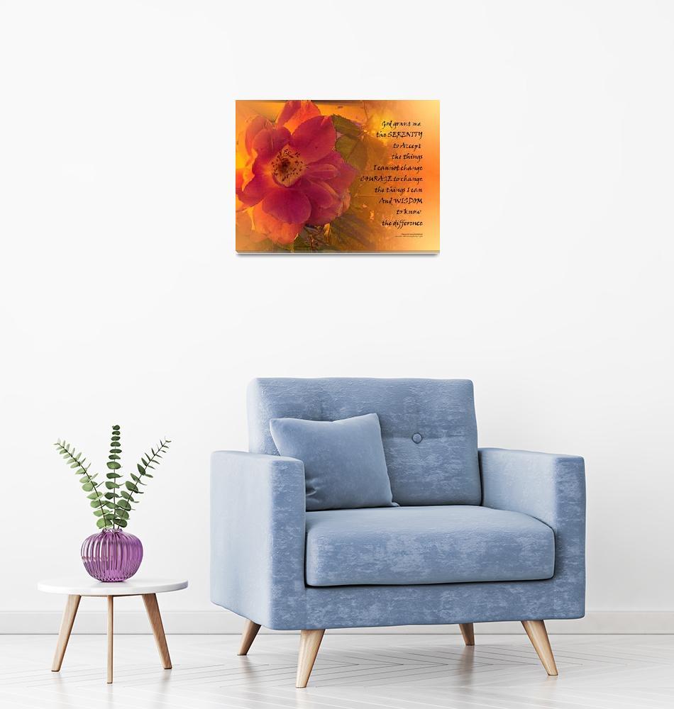 """Serenity Prayer Orange Pink Rose""  (2017) by serene_scene"