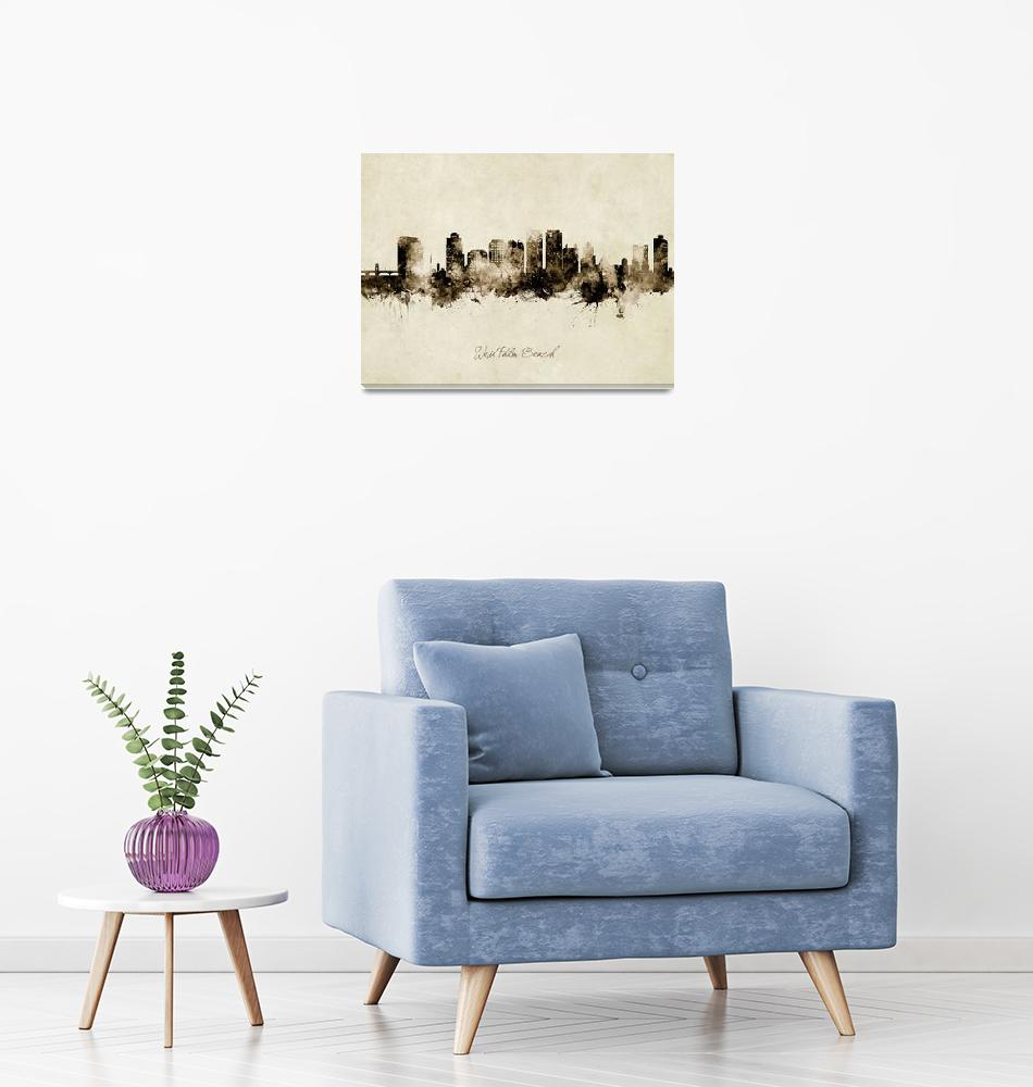"""""""West Palm Beach Florida Skyline""""  (2019) by ModernArtPrints"""