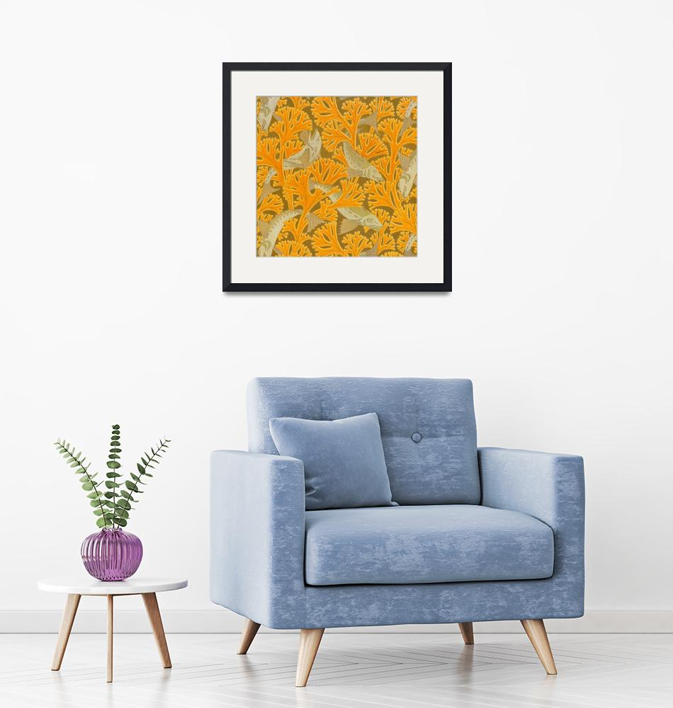"""Vintage Art Deco Fish and Yellow Coral Design""  by Alleycatshirts"