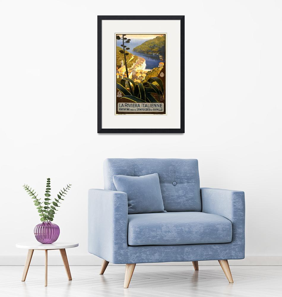 """""""The Italian Riviera Vintage Travel Poster"""" by FineArtClassics"""