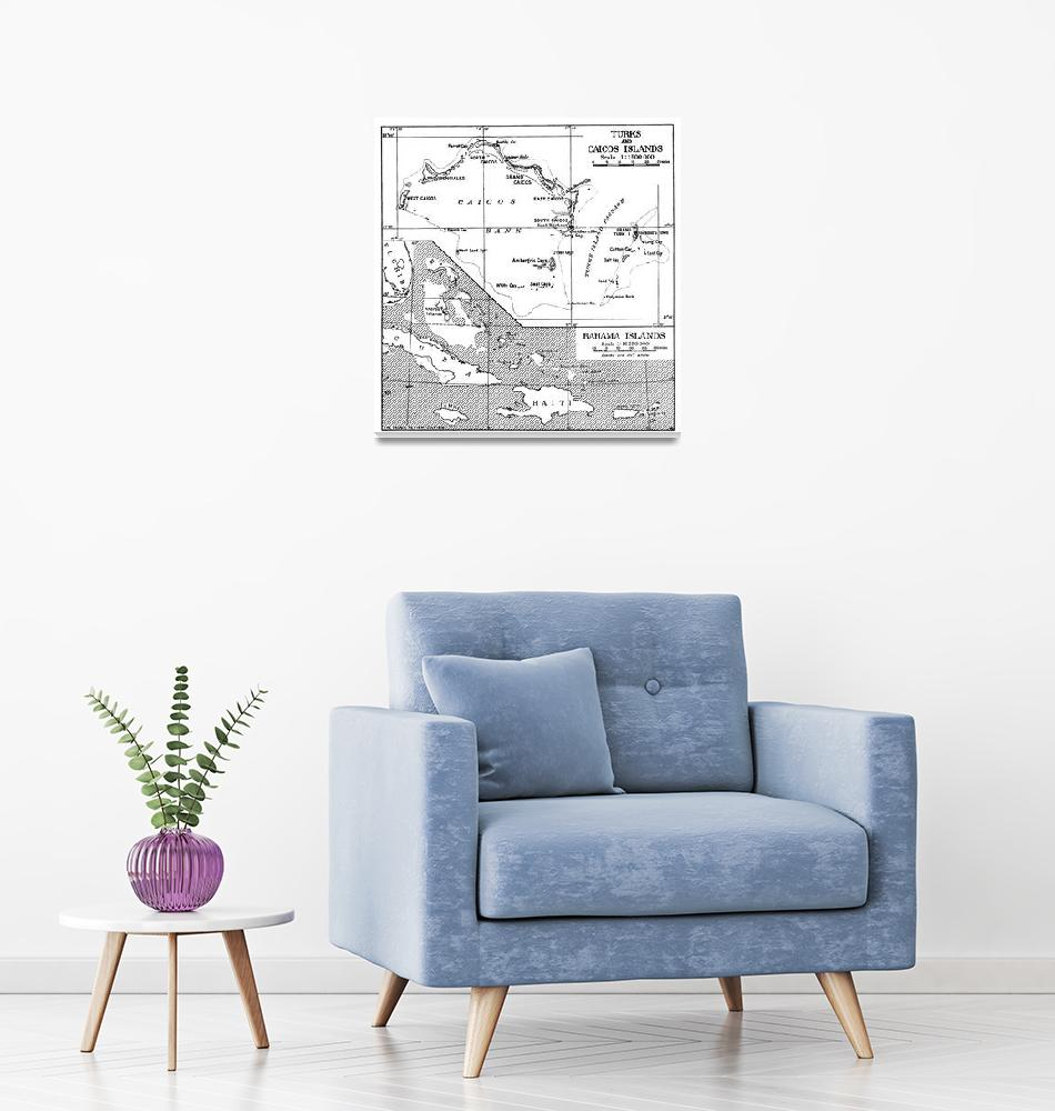 """Vintage Map of Turks and Caicos & Bahamas""  by Alleycatshirts"
