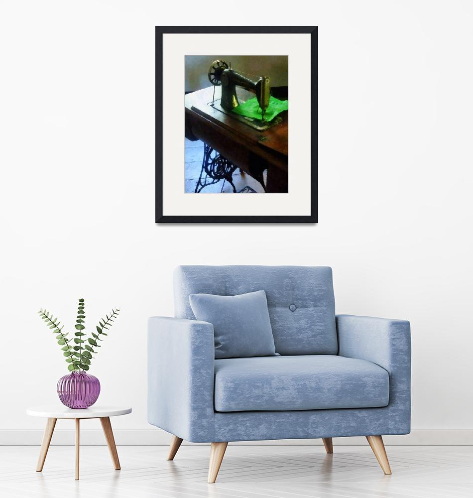 """""""Sewing Machine With Green Cloth""""  by susansartgallery"""