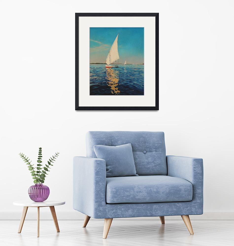 """July-sail boat 16X20""  by yuezeng"