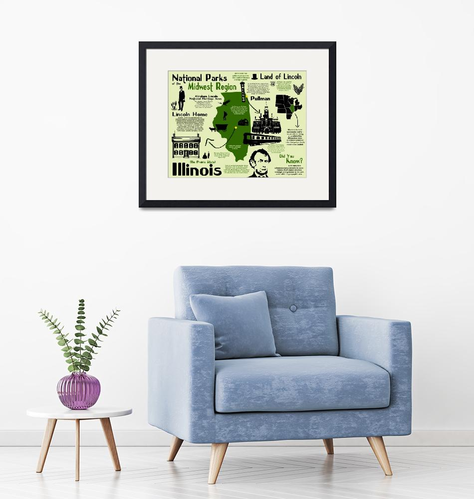 """""""Illinois National Park Infographic Map""""  by Alleycatshirts"""