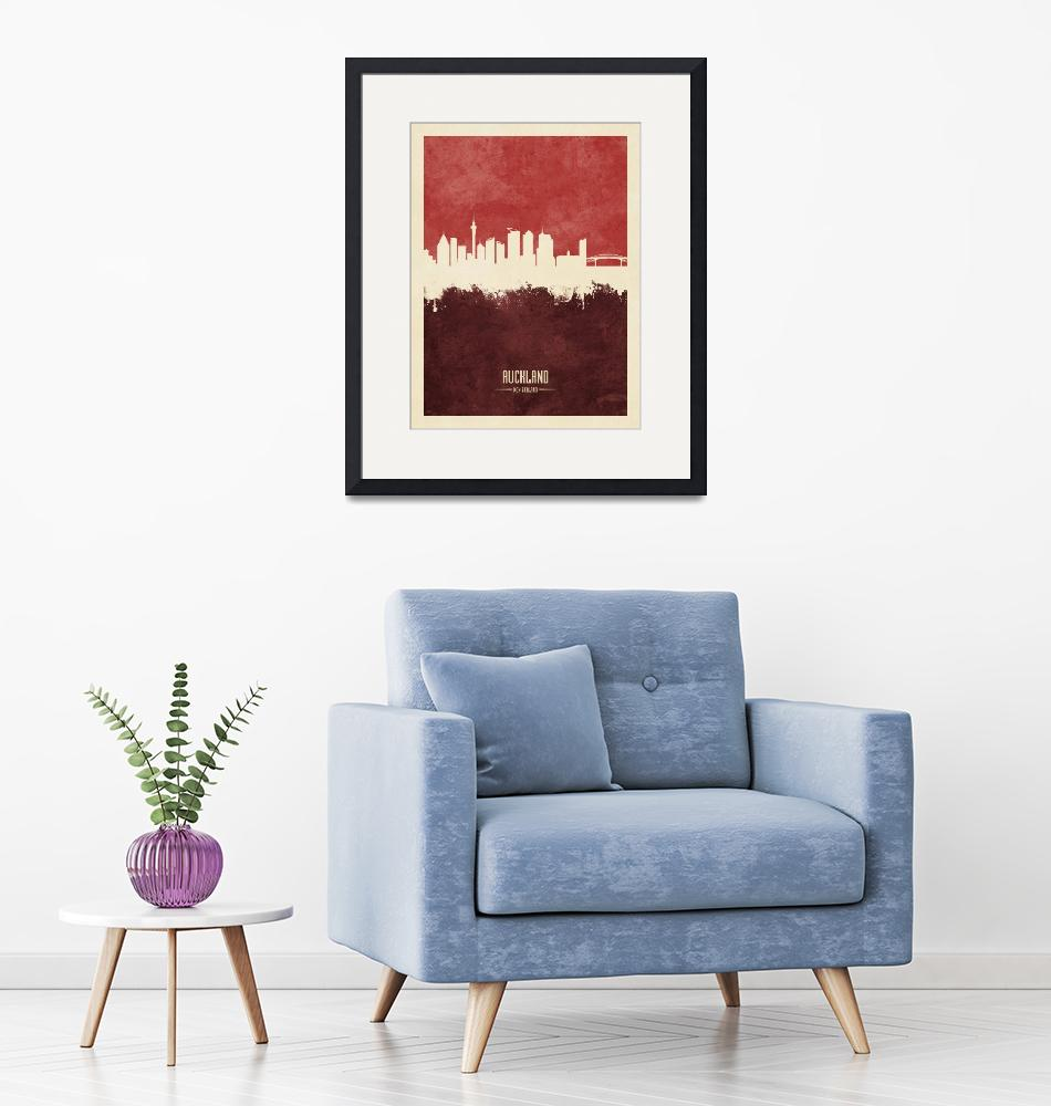 """Auckland New Zealand Skyline""  (2019) by ModernArtPrints"